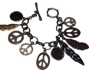 Lucky Brand Peace Sign And Leaf Bracelet