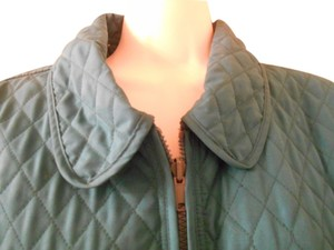 Blassport Quilted Coat Large 12 14 Stadium Fall Zipper Autumn Hounds Tooth Reversible Travel Green Jacket