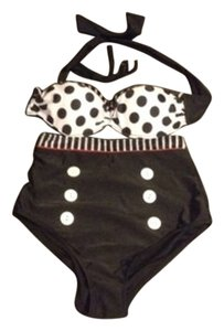 Other Black white & red High waisted polka dot bikini