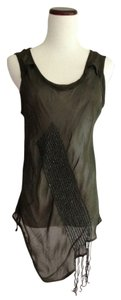 Quinta Colonna Designer Sheer Top Olive Green