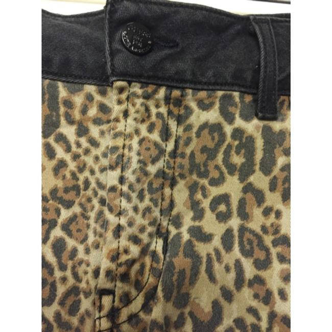 Guess Stonewash Prewashed Print Animal Print Stretchy Distressed Modern Retro Contrast Color-blocking Scarlet High-rise Hem Cut Off Shorts Faded black/leopard