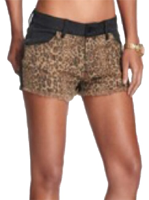 Guess Stonewash Prewashed Leopard Print Animal Print Stretchy Distressed Modern Retro Contrast Color-blocking Scarlet Panel Cut Off Shorts Faded black/leopard