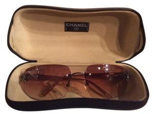 Chanel CHANEL Rimless Rose Gold Crystal CC Logo Sunglasses