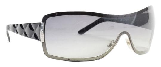 """Chanel Chanel Black/Gradient Lens Quilted Shield """"4126"""" Sunglasses"""