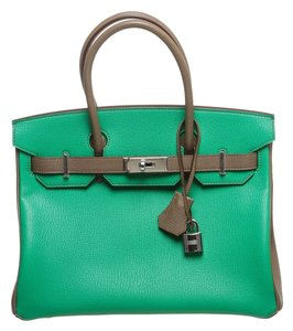 Hermès Satchel in Green and Gray