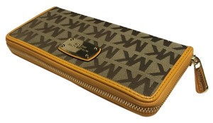 Michael Kors Jacquard Continental Wallet Beige Ebony Yellow Clutch