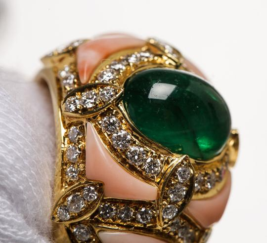 Other Gold Diamond and Cabochon Emerald Ring (Size 8)