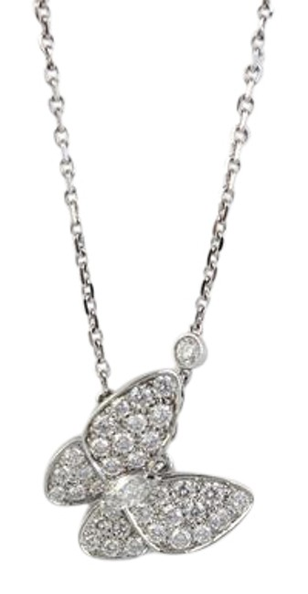 Item - Silver 18k White Gold and Diamond Butterfly Necklace