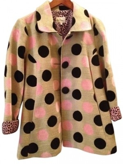 Preload https://item5.tradesy.com/images/3-sisters-pink-and-black-polka-dots-with-cream-background-swing-style-jacketblazer-blazer-size-14-l-6224-0-0.jpg?width=400&height=650