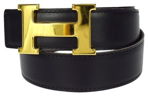 Hermès Authentic HERMES Constance H Buckle Belt Leather #68 Gold Black Vintage 65D266