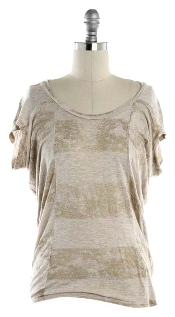 Item - Gold & Tan - Striped Flutter Tee Blouse Size 2 (XS)