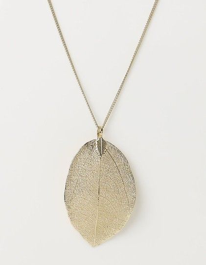 Other Single Leaf Gold-Toned Pendant Necklace