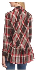 Free People Button Down Shirt Stone Combo red,black and grey.