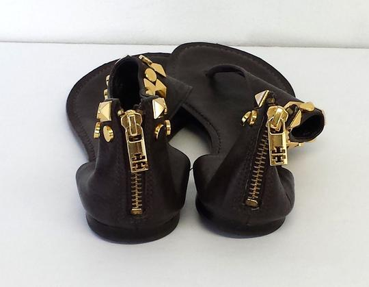 Tory Burch Brown Leather Studded Sandals