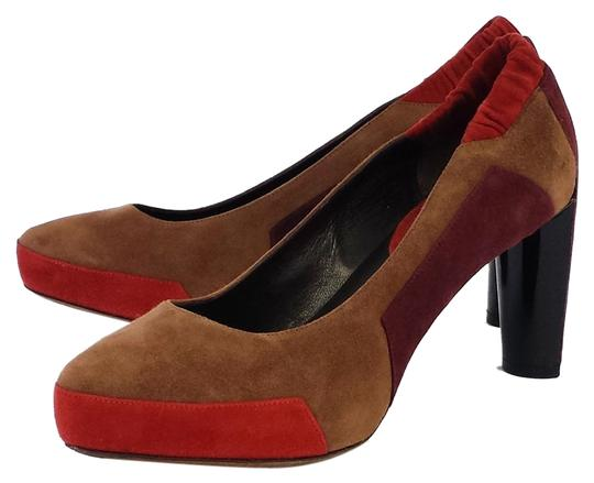 Preload https://item4.tradesy.com/images/celine-taupe-and-coral-colorblock-suede-heels-pumps-size-us-85-6225343-0-0.jpg?width=440&height=440