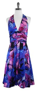 Adrianna Papell short dress Blue Floral Silk Halter on Tradesy