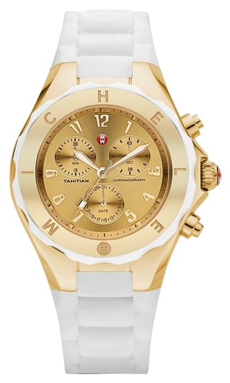 Michele Nwt Authentic LARGE Tahitian Jelly Bean Gold Tone Dial Watch $395