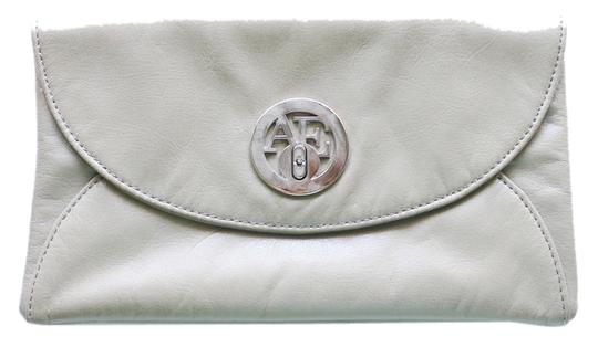 American Eagle Outfitters Charcoal Small Zipper Clasp Silver Ae Faux-leather Neutral Beige Clutch
