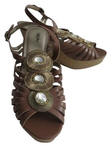 Mossimo Supply Co. Strappy Stones Peep Toe Brown Wedges