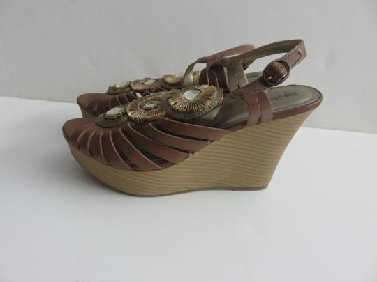 Mossimo Supply Co. Strappy Peep Toe Size 8 Brown Wedges