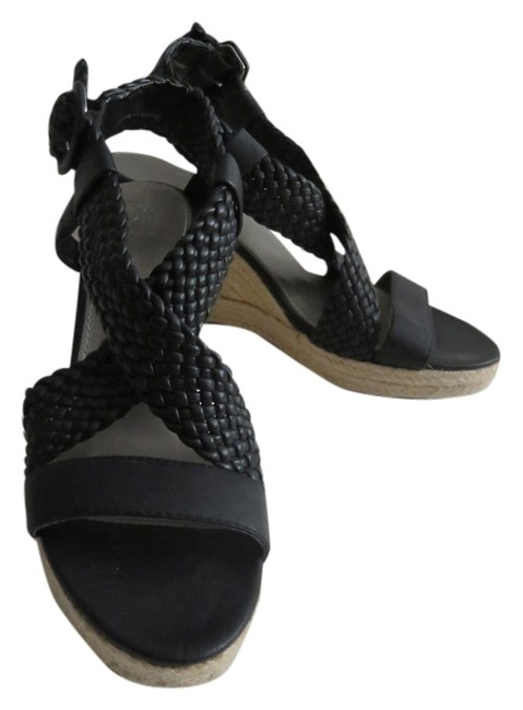 Item - Black Open Toe Sandals with Braided Straps Wedges Size US 8 Regular (M, B)
