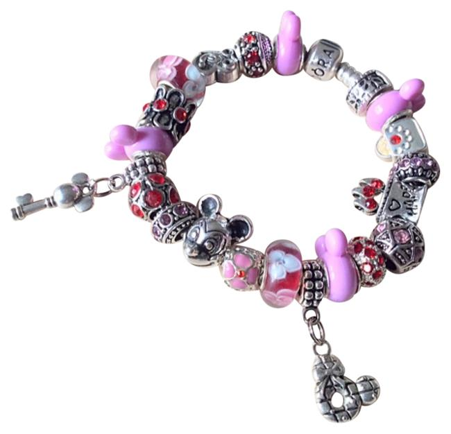 Item - Red Purple With European Charms Mickey Minnie Theme And Bracelet