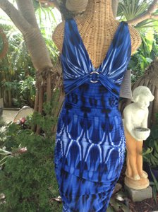 Boston Proper Ruched Tie Dye Above The Knee Silver Hardware Dress