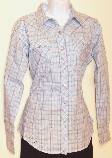 Ariat Edie Shirt Western Shirt Longsleeve Long Sleeve Cowboy Cowgirl Plaid Cotton Floral Embroidered Eyelets Embroidery M Button Down Shirt Blue