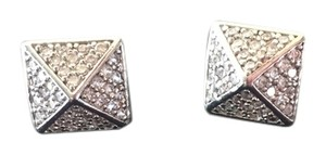 nOir Noir Silver and CZ Pyramid Stud Earrings