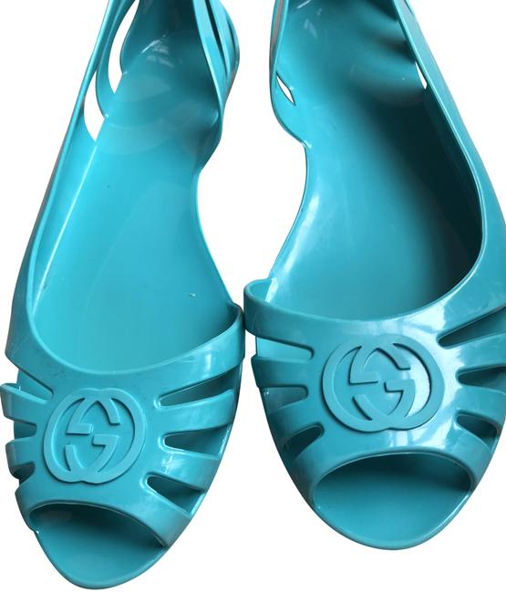 Item - Turquoise Teal Jelly Flats Size US 8 Narrow (Aa, N)