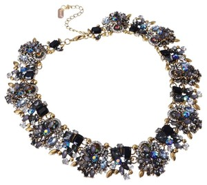 Other Vintage Gold Tone Chain Multi-Color Glass Crystal Charm Choker Statement Bib Necklace