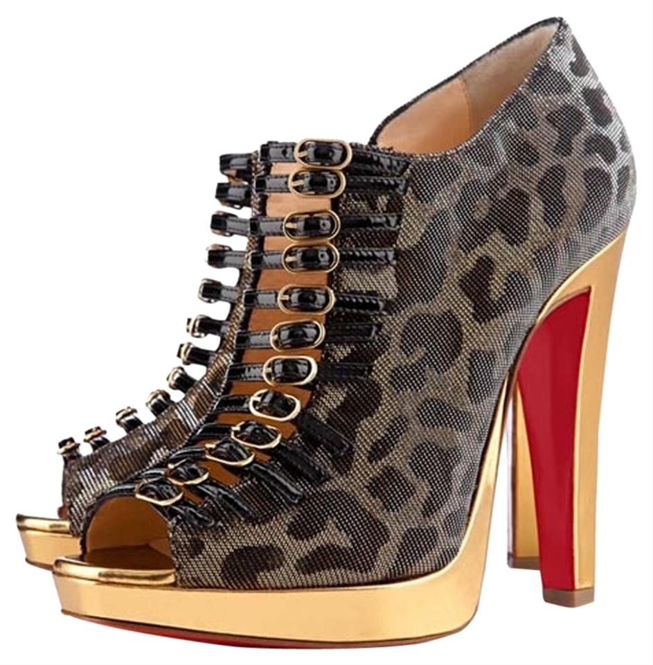 Boots Black Louboutin Christian Booties Gold Manon Open wU68xqS8