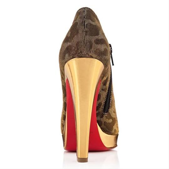 Christian Louboutin Red Sole Print Animal Print Gold Boots