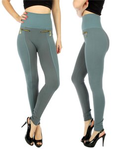 Yelete Leg Wear High Waist High Waisted High Waist Zipper Pocket Faux Pockets Light Green Leggings