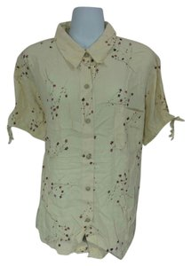 Venezia by Lane Bryant Button Down Button Down Shirt Beige with red