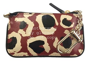 Gucci Gucci Red Animal Leopard Print Leather Clip Key Case Keyholder 233183 A831G