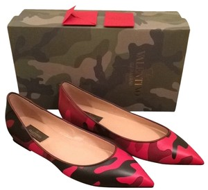 Valentino Camo Red Black Camouflage Flats