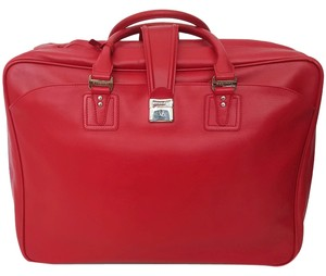 BVLGARI Red Epi Leather Travel Bag