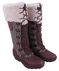 UGG Australia Swing Leather Snow Leather Brown and Plaid Boots
