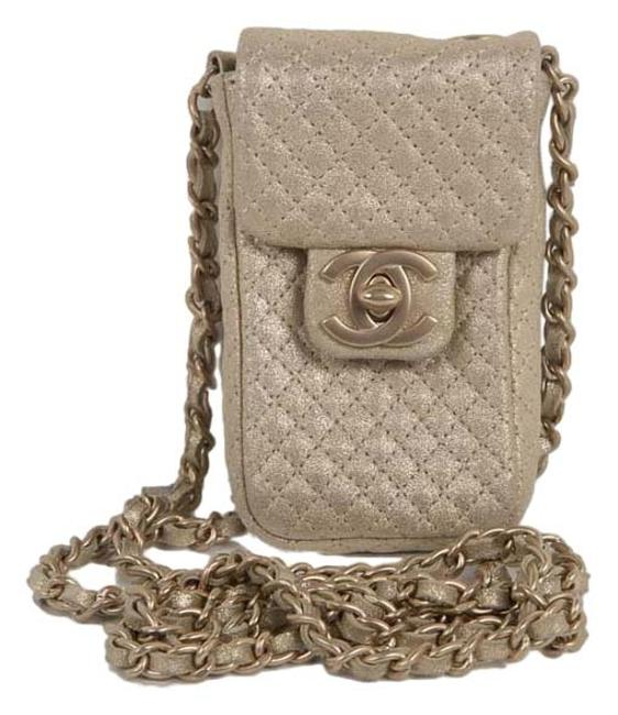 Item - Quilted Chain Strap Metallic Gold Leather Cross Body Bag