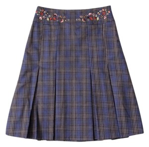 Oilily Plaid Pleated Embroidered Skirt Blue