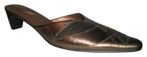 Chico's Slip On Low Heal Comfortable Leather Bronze Mules