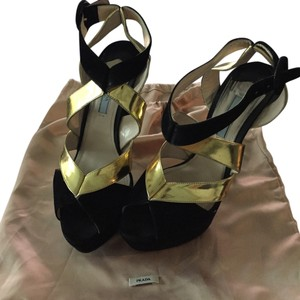 Prada black/gold Sandals