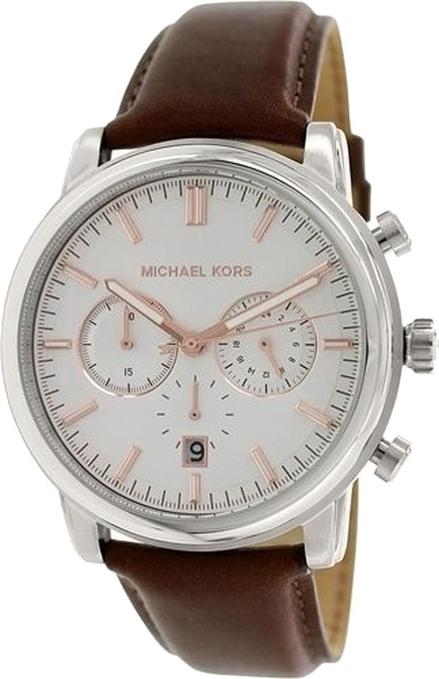 3f69788ce61e Michael Kors NEW MENS MICHAEL KORS (MK8372) LANDAULET CHRONOGRAPH BROWN  LEATHER STRAP WATCH Image