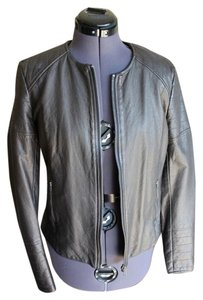 Silence + Noise & Faux Leather Metallic Black Leather Jacket