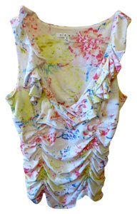 CAbi Floral Ruffle Top White / Multi