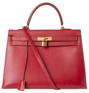 Hermès Epsom Hermes Kelly Satchel in Red