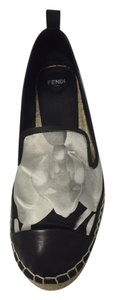 Fendi Espadrille Couture Satin One-of-a-kind Black and White Flats
