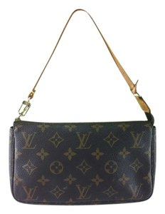 Louis Vuitton LOUIS VUITTON MONOGRAM CANVAS LEATHER POCHETTE ACCESSOIRES POUCH BAG 409100351