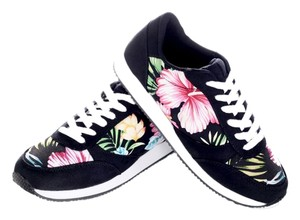 Other Soda Hibiscus Flower Floral Floral Print Retro Black Athletic